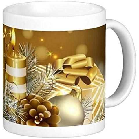 Endingfo Oro e bianco Natale candele classico bianco tazza di