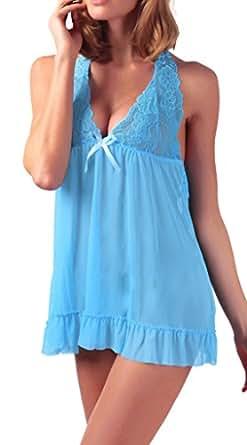 RZS Donna Lace Trasparente Lingerie Esotico Profonda Halter Con Scollo a V Pigiama [Grande Size] [2 pezzi] Fionda Chemise Con G-String(IT 40/EU 38, Azzurro)