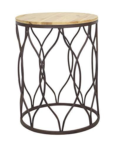 DARO DEKO Blumen-Hocker aus Metall und Holz (Kerze Säule-platte)