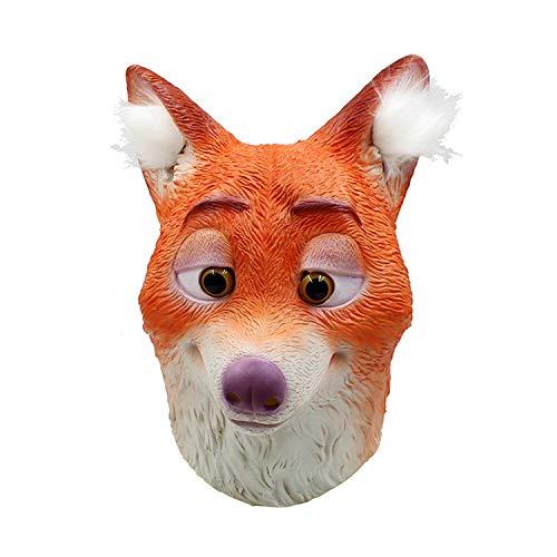 WYJSS Fuchs Maske Latex tierkopf Maske Halloween Cosplay Party kostüm neuheit schöne kostüm lustige Geschenke Dress up Requisiten,Orange-OneSize