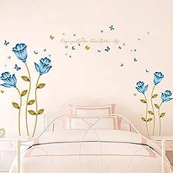 Fleur Papillon Stickers Muraux Maison Romantique Stickers Muraux pour Chambre Fond D'écran Fond D'écran Amovible Réfrigérateur Fenêtre Décor 188 * 125 cm