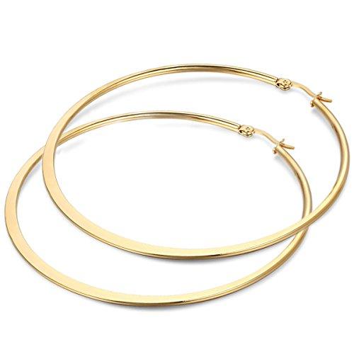 JewelryWe Schmuck Damen Ohrringe, 73mm flache runde große Creolen Ohrhänger, Edelstahl, Gold (Gold-flache Creolen)