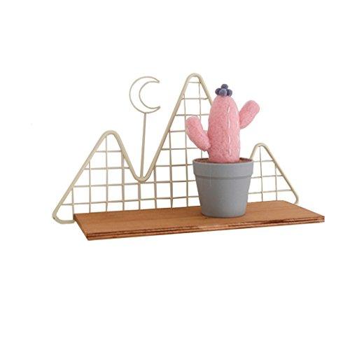 HSHELF-Meubles Étagères murales multifonctionnelle Loft DIY Tablette murale | Creative Nordic Style étagères murales étagère de rangement partition cadre d'angle décoratif présentoir | Supports de Reseaus en fer et planche de bois | L35 * D11 * H19.5cm Étagère murale élégante et attrayante ( Couleur : Crémeux-blanc )