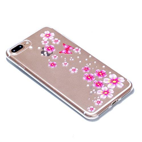 iPhone 7 Plus Hülle, Voguecase Silikon Schutzhülle / Case / Cover / Hülle / TPU + PC Gel Skin für Apple iPhone 7 Plus 5.5(Blau Blumen/Schmetterling) + Gratis Universal Eingabestift Rot Blume/Schmetterling 09