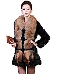 Fur Story 151208 Para Mujer Largo Real Pelo de Conejo Abrigo Collar De Piel De Mapache
