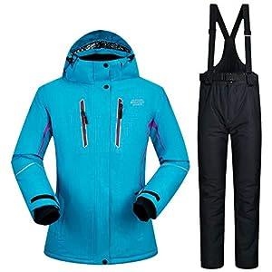 Zjsjacket Skianzug weibliche Reine Farbe des Skianzuges Skifahren Jacken Frauen verdicken warme Wasserdichte Frauen Skijacken und Hosen Kleidung Sets