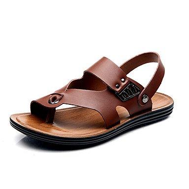 Herrenschuhe Leder Outdoor/Casual Sandalen Outdoor/Casual Sport Sandalen mit flachem Absatz, Hohl-, Braun/Weiß Brown