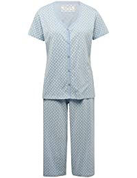 M&Co Ladies Cotton Jersey Floral Print Short Sleeve V Neck T-Shirt and Cropped Trouser Pyjama Set