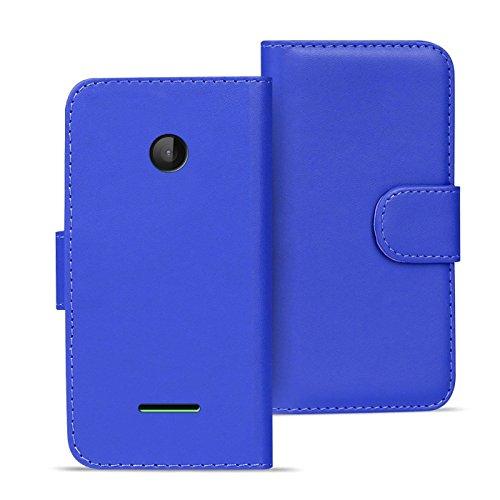 Premium Bookstyle Klapphülle für Microsoft Lumia 532 Hülle Etui seitlich aufklappbare Tasche in der Farbe blau