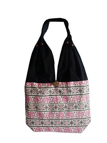 Ariyas Thaishop, Borsa a tracolla donna rosa Pink - weiß - schwarz Pink - weiß - schwarz