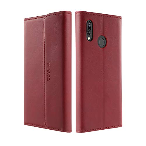 WD&CD Cover per Huawei P20 Lite [Garanzia a Vita],Custodia per Huawei P20 Lite Kickstand Slot per Schede Premium PU Pelle Portafoglio Flip Caso-Rosso
