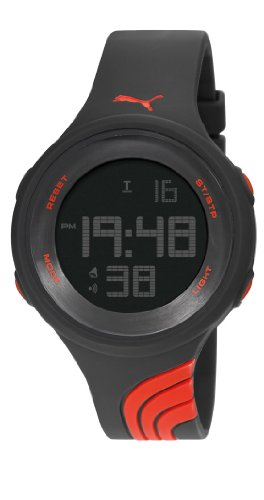 Puma Twist L Unisex Digital Watch with LCD Dial Digital Display and Black PU Strap PU911091001