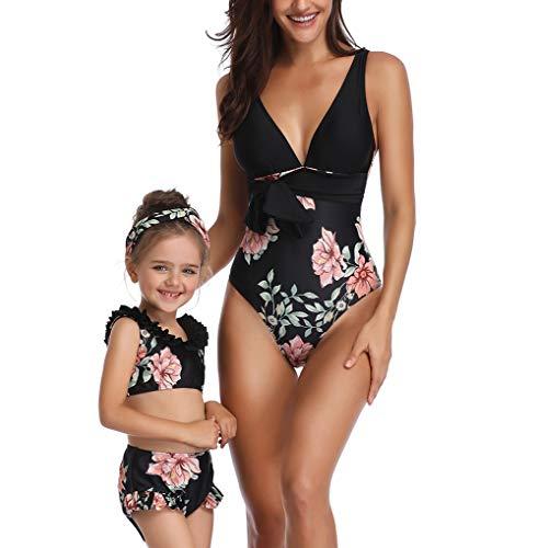 Vawal Mutter und Tochter EIN Stück Familie Bikini Bademode Blumen Bügel Frauen Baby Mädchen Badeanzug Strandkleidung (Damen/M, Schwarz) -