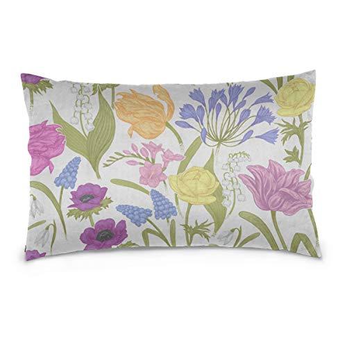"JEOLVP Kissenbezug Hyacinth Romantic Flowers Cotton Reversible Zipper Standardgröße (20""x 30"") Kissenbezüge Kissenbezüge Standardgröße Bett Kissenbezüge"
