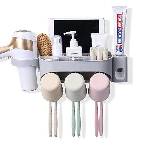 erhuo Saugwand-Rack-Wasch-Set Saugnapf Zahnpasta Zahnbürste Wand hängen Multifunktions-Stempel frei, DREI weiße Tassen