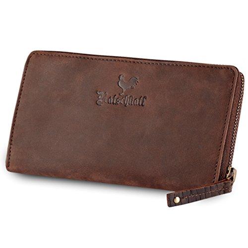 Damen Portemonnaie Echt-Leder mit Reißverschluss und vielen Kartenfächern | Handgefertigtes Portmonee im Querformat für Frauen | Geldbeutel / Wallet / Brieftasche / Geldbörse groß in BRAUN