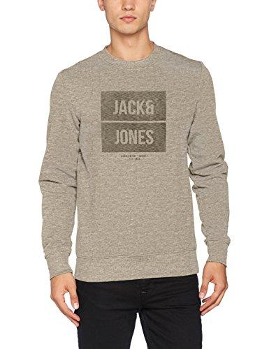 JACK & JONES Herren Sweatshirt Jcobak Sweat Crew Neck Whs Grau (Light Grey Melange Fit:Reg)
