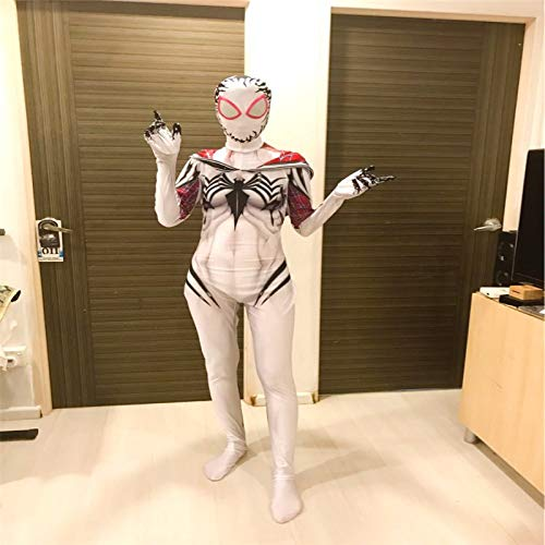 2REMISE Marvel Femme Gwen Spider-Man Joue Au Venin des Vêtements Gwen Halloween Collant Cosplay Spider-Man Blanc Adulte 2XL (180-185Cm)