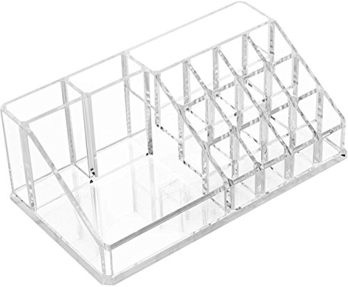 MWMALLINDIA Acrylic 16 Compartment Cosmetic Makeup Jewellery Storage Organiser Holder, 22Lx13Wx8H cm, Clear