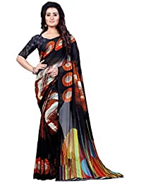 Anand Sarees Women's Faux Georgette Printed Black Color With Blouse Piece ( 1349 )