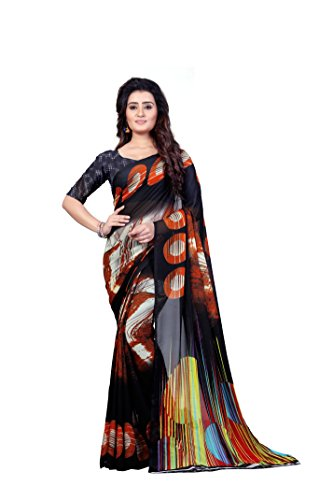 Anand Sarees Women's Faux Georgette Printed Black Color With Blouse Piece (...