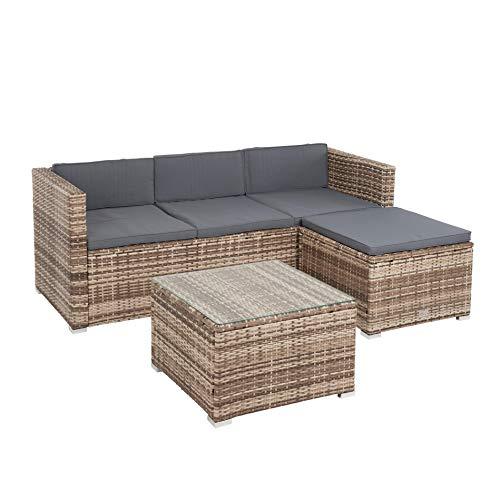 ESTEXO Polyrattan Lounge 3-Sitzer Sofa mit Hocker und Lounge-Tisch mit Glasplatte, beige-braun-meliert