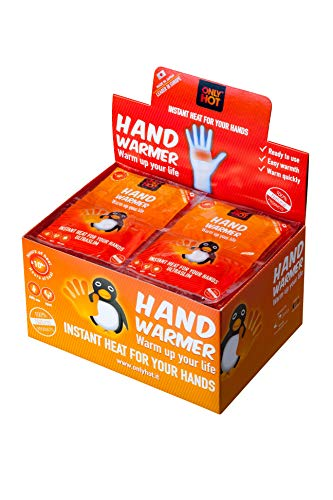 Hand warmers only hot, scaldini scalda mani autoriscaldanti, 12 ore mani calde, pronti all'uso e naturali, display box da 40 paia