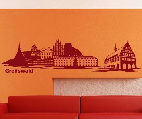 Wandtattoo Skyline Greifswald Wohnzimmer XXL Aufkleber Deutschland Stadt 1M169, Farbe:Schwarz Matt;Länge des Motives:100cm