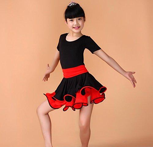 Kinderkleidung Kinder tanzen Kleidung Lateintanzleistungskleidung Kindertanzwettbewerb Kleidung rosa / blau / schwarz , 120cm , (Kinder Tanzbekleidung)