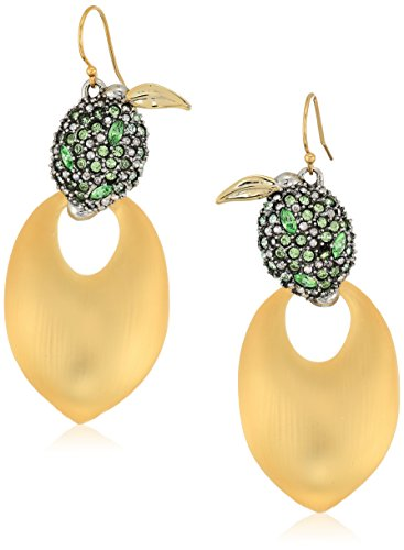 Alexis Bittar Crystal Encrusted Lime and Lucite Earwire Drop Earrings