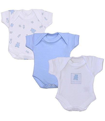 BabyPrem Frühchen Baby Jungen Kleidung Packung Mit 3 Bodys Strampelanzüge BLAU TEDDY P3