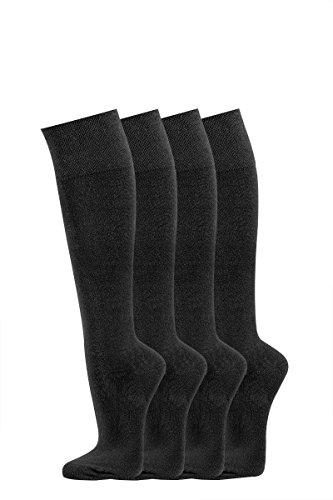 TippTexx24 FussFreunde, 4 Paar schwarze hochwertige Herren/Damen- Kniestrümpfe (43/46, Schwarz)
