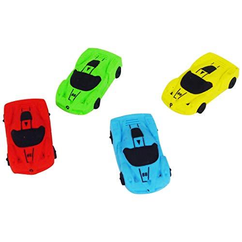 4 Pcs Neuheit Radiergummi Set Racing Sportwagen Modell Spielzeug für Kinder Geburtstag Party Favors Giveaways für Kinder Party Tasche Fille Geschenk für Jungen Studenten