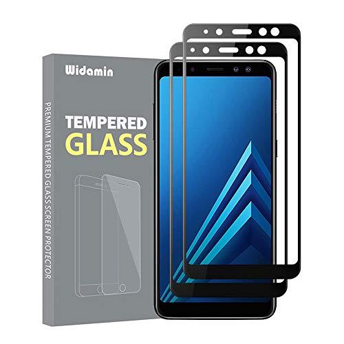 Widamin 2Pack, Kompatibel mit Galaxy A8 2018 Bildschirmschutzfolie, Panzerglas, 9H Härte, Crystal Clearity, No-Bubble, für Samsung Galaxy A8 2018