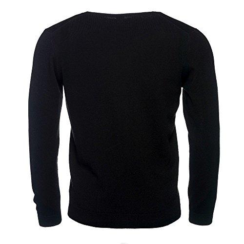ALLBOW Cosy, Herren Winter Pullover / Sweatshirt Rundhals aus Kaschmir und Baumwolle Schwarz