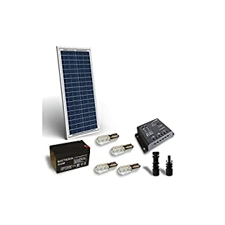 Kit solar Votivglas 30W 12V Solarpanel, Batterie, Laderegler, LED