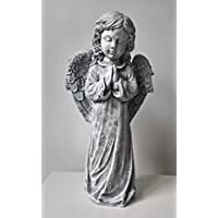 LARGE 49cm Angel Stone Statue Handmade Garden Grave Memorial Feature Ornament