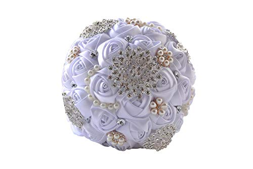Wedding bouquet for the bride,luxurious Handmade Wedding bouquets,Bouquet Flowers Roses Crystal Pearl Wedding Bouquet, Bridal Artificial Silk Flowers for photo shooting party home decoration@pure whit