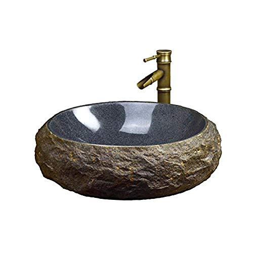 Gorheh Antikes Steinwaschbecken Marmor Aufsatzwaschbecken Retro Art Waschbecken Steinwaschbecken (50X15Cm) Waschbecken