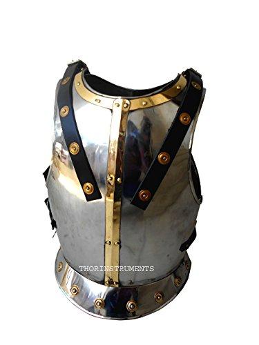 Thor Instruments.Co Breast Replica Larp-Armatura medievale, finitura anticata, colore: nero