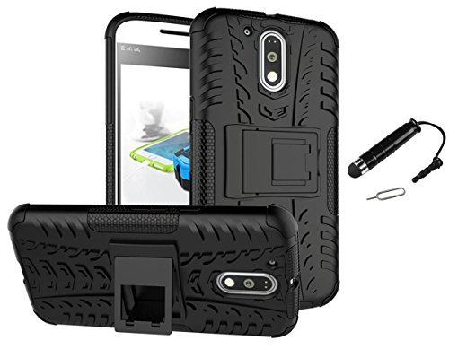 TCA Kickstand Hybrid Dual Armor Back Case Cover For Motorola Moto G2 Moto G 2nd Gen XT1068 - Black + Mini Stylus + Eject Pin
