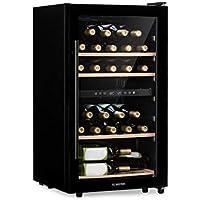 KLARSTEIN Barossa 34D • Cantinetta Vino con Porta in Vetro • Refrigeratore Vino • 2 Zone • 34 Bottiglie • 5 a 18 ° C • 42 dB • LED • Touch • Fermaporta su Entrambi i Lati • Altezza Regolabile • Nero