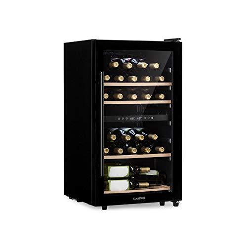 Klarstein Barossa 34D • Weinkühlschrank mit Glastür • Weinkühler • 2 Zonen • 34 Flaschen • 5 bis 18°C • 42 dB leise • LED • Touch • Türanschlag beidseitig • höhenverstellbar • schwarz