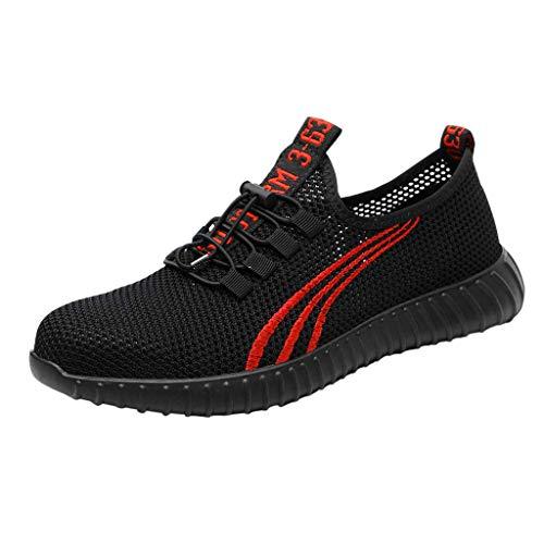 Arbeitsschuhe Damen Herren Sicherheitsschuhe Sicherheit Stahlkappe Sicherheitssneaker Arbeit Wandern Sneaker Atmungsaktive Trainer Stiefel Schuhe, Schwarz
