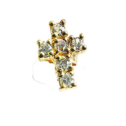 para-hombre-9ct-amarillo-circonitas-cubicas-cruz-pendiente-para-el-clavo-unico-caja-de-regalo-just-f