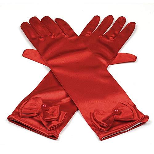Prinzessin Elsa Handschuhe für Mädchen-Kostüm Karneval Verkleidung Party Handschuhe, Onesize, Rot