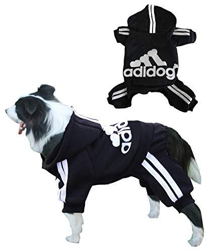 Rdc Pet Adidog Dog Hoodies, Clothes,Fleece Jumpsuit Warm Sweater,4 Legs Cotton Jacket Sweat Shirt Coat for Small Dog Medium Dog Large Dog (Black,3XL)
