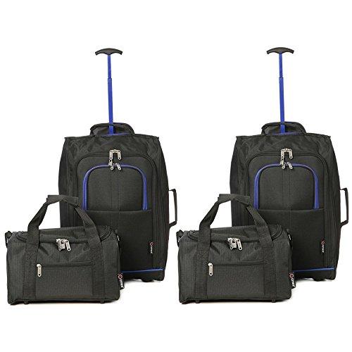 Juego de 4-2x Ryanair Cabina Aprobado 55x40x20cm & 2x Segundo Kit de Equipaje de Mano 35x20x20 – Continuar Ambos artículos! (Negro -Azul/Negro)