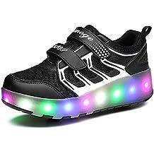 Adulto LED Zapatillas con Una/Dos Ruedas Deporte Patín Ruedas Intermitente Zapatos para Niño 27