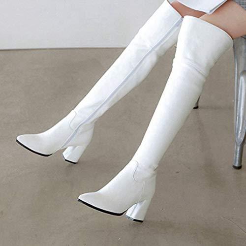 MENGLTX High Heels Sandalen Big Size 32-47 Winter Overknee Stiefel Damen Schuhe Spitz High Heels Lange Overknee Party Stiefel 4 White -